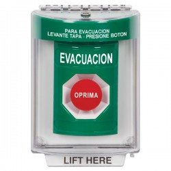 SS2134EV-ES STI Green Indoor/Outdoor Flush Momentary Stopper Station with EVACUATION Label Spanish