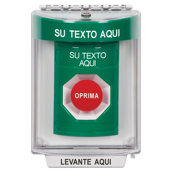 SS2134ZA-ES STI Green Indoor/Outdoor Flush Momentary Stopper Station with Custom Text Label Spanish