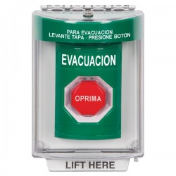 SS2135EV-ES STI Green Indoor/Outdoor Flush Momentary (Illuminated) Stopper Station with EVACUATION Label Spanish