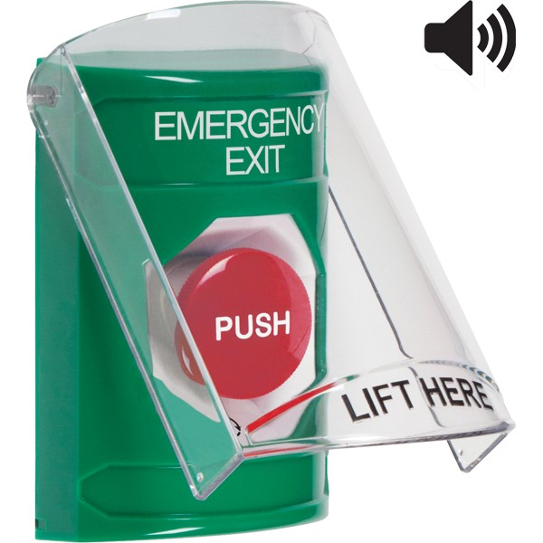 SS21A1EX-EN STI Green Indoor Only Flush or Surface w/ Horn Turn-to-Reset Stopper Station with EMERGENCY EXIT Label English