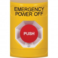 SS2201PO-EN STI Yellow No Cover Turn-to-Reset Stopper Station with EMERGENCY POWER OFF Label English