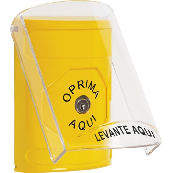 SS2220NT-ES STI Yellow Indoor Only Flush or Surface Key-to-Reset Stopper Station with No Text Label Spanish