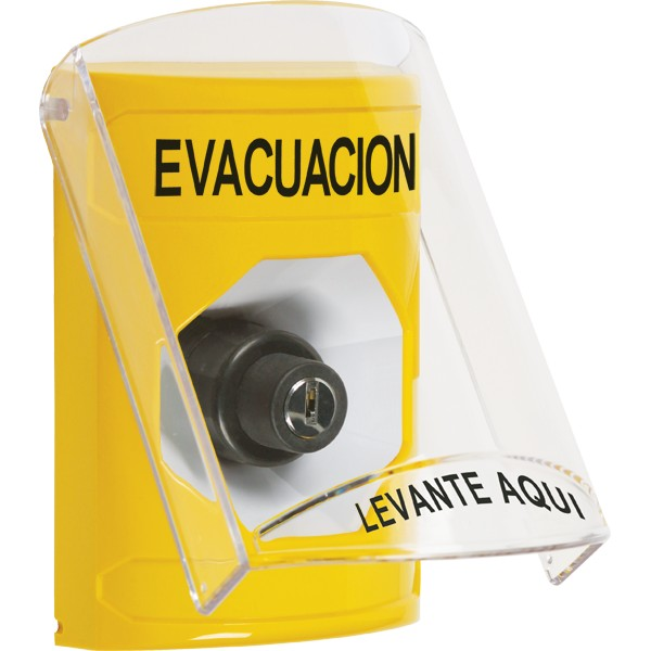 SS2223EV-ES STI Yellow Indoor Only Flush or Surface Key-to-Activate Stopper Station with EVACUATION Label Spanish