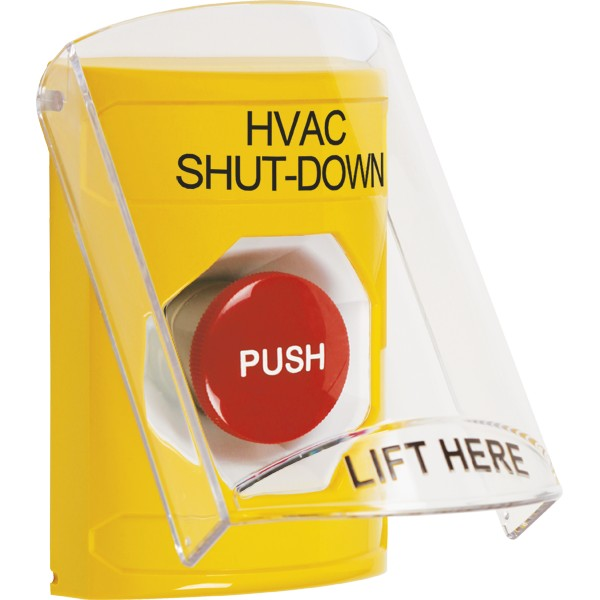 SS2224HV-EN STI Yellow Indoor Only Flush or Surface Momentary Stopper Station with HVAC SHUT DOWN Label English