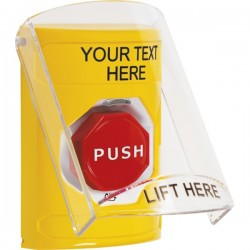 SS2229ZA-EN STI Yellow Indoor Only Flush or Surface Turn-to Reset (Illuminated) Stopper Station with Custom Label English
