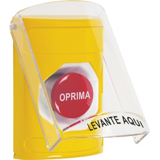 SS22A4NT-ES STI Yellow Indoor Only Flush or Surface w/ Horn Momentary Stopper Station with No Text Label Spanish