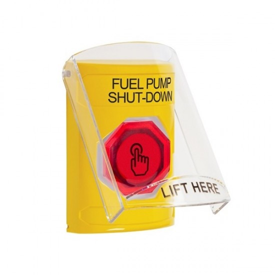 SS22A7PS-EN STI Yellow Indoor Only Flush or Surface w/ Horn Weather Resistant Momentary (Illuminated) with Red Lens Stopper Station with FUEL PUMP SHUT DOWN Label English