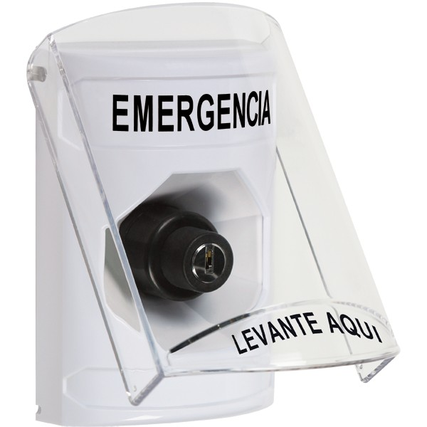 SS2323EM-ES STI White Indoor Only Flush or Surface Key-to-Activate Stopper Station with EMERGENCY Label Spanish