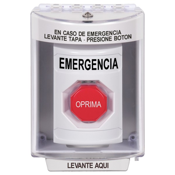 SS2375EM-ES STI White Indoor/Outdoor Surface Momentary (Illuminated) Stopper Station with EMERGENCY Label Spanish