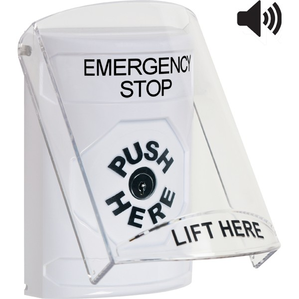 SS23A0ES-EN STI White Indoor Only Flush or Surface w/ Horn Key-to-Reset Stopper Station with EMERGENCY STOP Label English