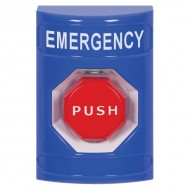 SS2401EM-EN STI Blue No Cover Turn-to-Reset Stopper Station with EMERGENCY Label English