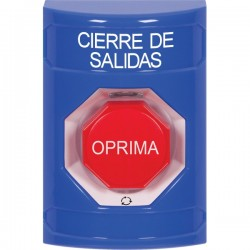 SS2409LD-ES STI Blue No Cover Turn-to-Reset (Illuminated) Stopper Station with LOCKDOWN Label Spanish