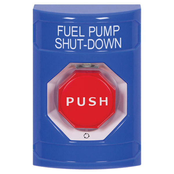 SS2409PS-EN STI Blue No Cover Turn-to-Reset (Illuminated) Stopper Station with FUEL PUMP SHUT DOWN Label English