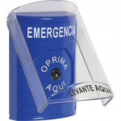 SS2420EM-ES STI Blue Indoor Only Flush or Surface Key-to-Reset Stopper Station with EMERGENCY Label Spanish