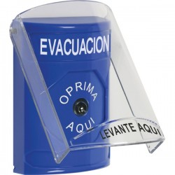 SS2420EV-ES STI Blue Indoor Only Flush or Surface Key-to-Reset Stopper Station with EVACUATION Label Spanish