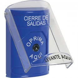 SS2420LD-ES STI Blue Indoor Only Flush or Surface Key-to-Reset Stopper Station with LOCKDOWN Label Spanish