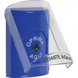 SS2420NT-ES STI Blue Indoor Only Flush or Surface Key-to-Reset Stopper Station with No Text Label Spanish