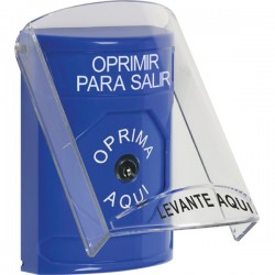 SS2420PX-ES STI Blue Indoor Only Flush or Surface Key-to-Reset Stopper Station with PUSH TO EXIT Label Spanish