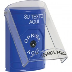 SS2420ZA-ES STI Blue Indoor Only Flush or Surface Key-to-Reset Stopper Station with Custom Text Label Spanish