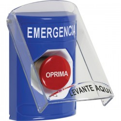 SS2421EM-ES STI Blue Indoor Only Flush or Surface Turn-to-Reset Stopper Station with EMERGENCY Label Spanish