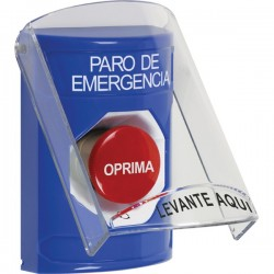 SS2421ES-ES STI Blue Indoor Only Flush or Surface Turn-to-Reset Stopper Station with EMERGENCY STOP Label Spanish