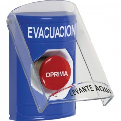 SS2421EV-ES STI Blue Indoor Only Flush or Surface Turn-to-Reset Stopper Station with EVACUATION Label Spanish