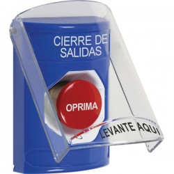 SS2421LD-ES STI Blue Indoor Only Flush or Surface Turn-to-Reset Stopper Station with LOCKDOWN Label Spanish