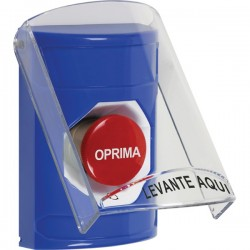 SS2421NT-ES STI Blue Indoor Only Flush or Surface Turn-to-Reset Stopper Station with No Text Label Spanish