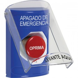 SS2421PO-ES STI Blue Indoor Only Flush or Surface Turn-to-Reset Stopper Station with EMERGENCY POWER OFF Label Spanish