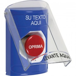SS2421ZA-ES STI Blue Indoor Only Flush or Surface Turn-to-Reset Stopper Station with Custom Text Label Spanish