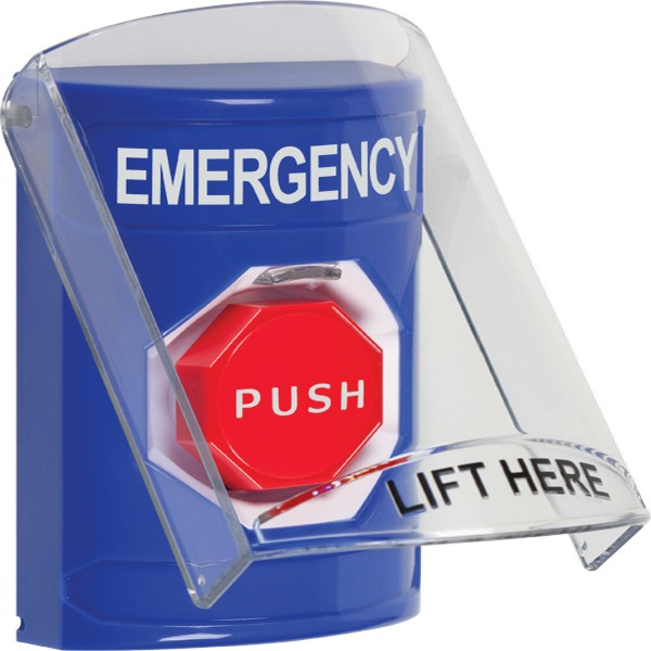 SS2422EM-EN STI Blue Indoor Only Flush or Surface Key-to-Reset (Illuminated) Stopper Station with EMERGENCY Label English