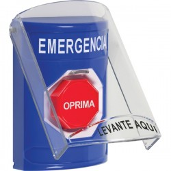 SS2422EM-ES STI Blue Indoor Only Flush or Surface Key-to-Reset (Illuminated) Stopper Station with EMERGENCY Label Spanish