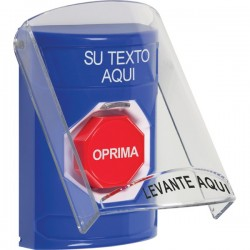 SS2422ZA-ES STI Blue Indoor Only Flush or Surface Key-to-Reset (Illuminated) Stopper Station with Custom Text Label Spanish