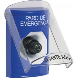 SS2423ES-ES STI Blue Indoor Only Flush or Surface Key-to-Activate Stopper Station with EMERGENCY STOP Label Spanish