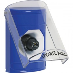 SS2423NT-ES STI Blue Indoor Only Flush or Surface Key-to-Activate Stopper Station with No Text Label Spanish