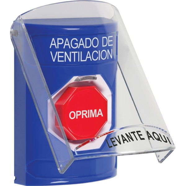 SS2425HV-ES STI Blue Indoor Only Flush or Surface Momentary (Illuminated) Stopper Station with HVAC SHUT DOWN Label Spanish