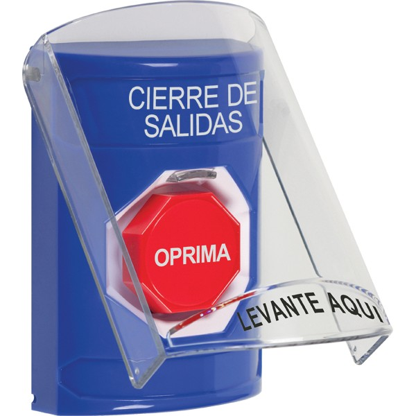 SS2425LD-ES STI Blue Indoor Only Flush or Surface Momentary (Illuminated) Stopper Station with LOCKDOWN Label Spanish