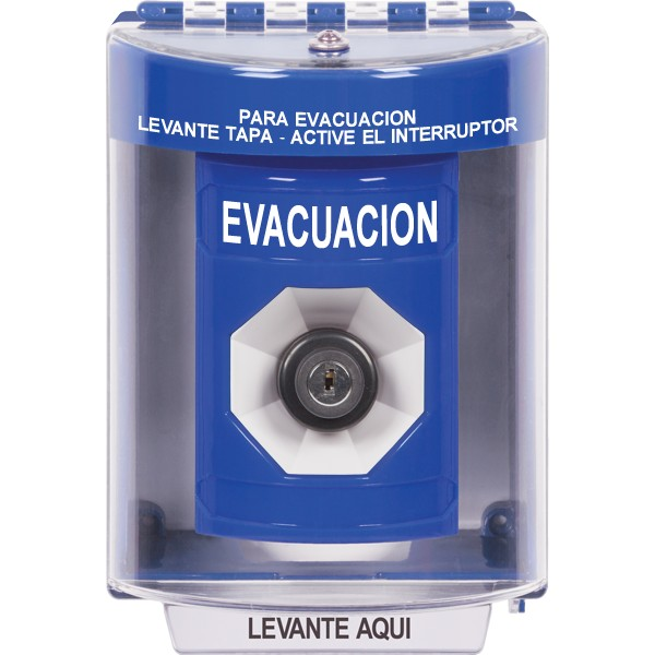SS2473EV-ES STI Blue Indoor/Outdoor Surface Key-to-Activate Stopper Station with EVACUATION Label Spanish