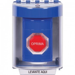 SS2482NT-ES STI Blue Indoor/Outdoor Surface w/ Horn Key-to-Reset (Illuminated) Stopper Station with No Text Label Spanish