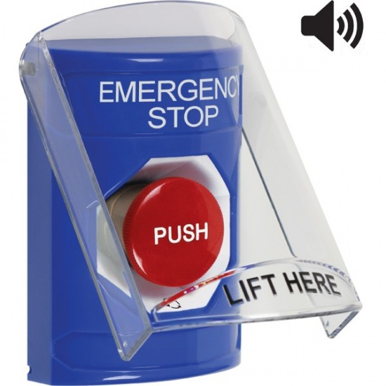 SS24A1ES-EN STI Blue Indoor Only Flush or Surface w/ Horn Turn-to-Reset Stopper Station with EMERGENCY STOP Label English