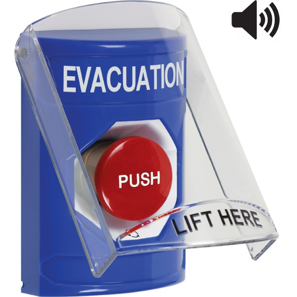 SS24A1EV-EN STI Blue Indoor Only Flush or Surface w/ Horn Turn-to-Reset Stopper Station with EVACUATION Label English