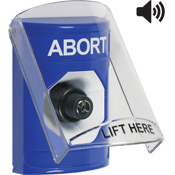 SS24A3AB-EN STI Blue Indoor Only Flush or Surface w/ Horn Key-to-Activate Stopper Station with ABORT Label English