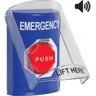 SS24A5EM-EN STI Blue Indoor Only Flush or Surface w/ Horn Momentary (Illuminated) Stopper Station with EMERGENCY Label English