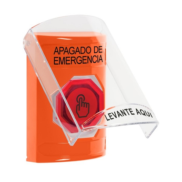 SS2526PO-ES STI Orange Indoor Only Flush or Surface Momentary (Illuminated) with Red Lens Stopper Station with EMERGENCY POWER OFF Label Spanish
