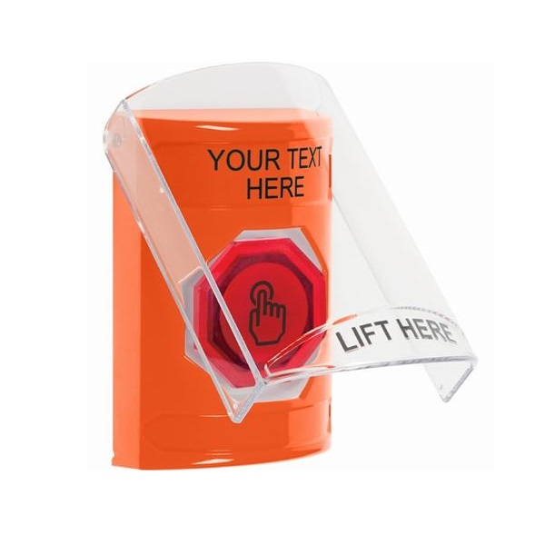 SS2526ZA-EN STI Orange Indoor Only Flush or Surface Momentary (Illuminated) with Orange Lens Stopper Station with Custom Text Label English