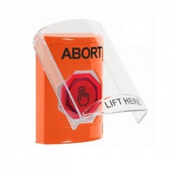 SS25A6AB-EN STI Orange Indoor Only Flush or Surface w/ Horn Momentary (Illuminated) with Orange Lens Stopper Station with ABORT Label English