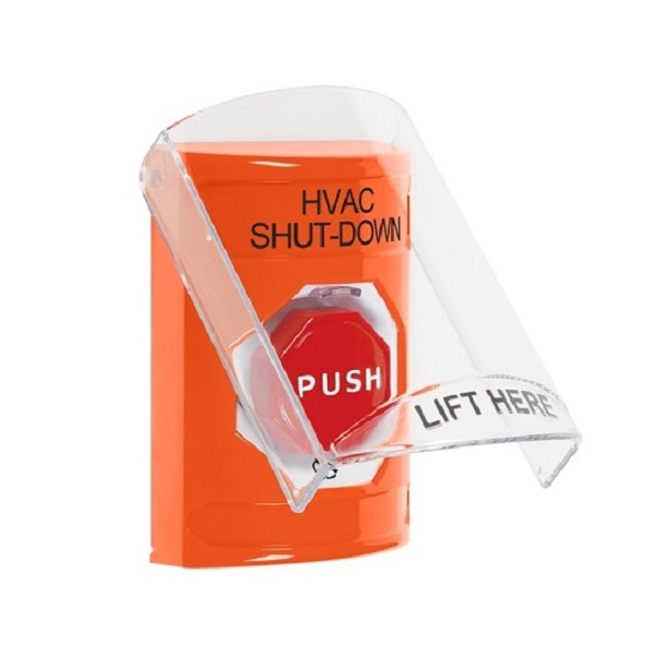 SS25A9HV-EN STI Orange Indoor Only Flush or Surface w/ Horn Turn-to-Reset (Illuminated) Stopper Station with HVAC SHUT DOWN Label English