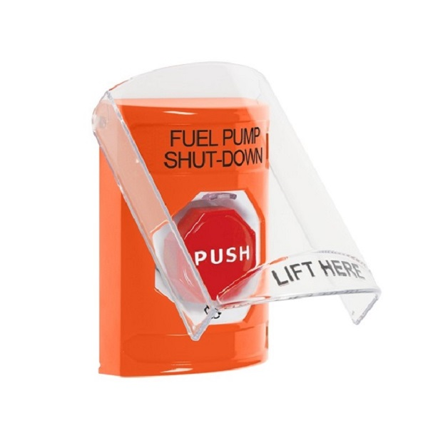 SS25A9PS-EN STI Orange Indoor Only Flush or Surface w/ Horn Turn-to-Reset (Illuminated) Stopper Station with FUEL PUMP SHUT DOWN Label English