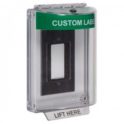 STI-13310CG STI Universal Stopper without Horn Enclosed Flush Back Box - Custom Label Included - Green