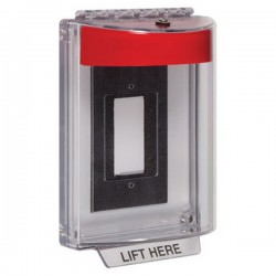 STI-13310NR STI Universal Stopper without Horn Enclosed Flush Back Box - No Label Included - Red
